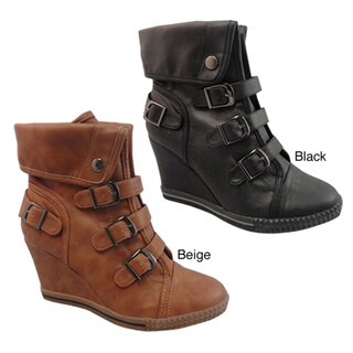 Bucco Women's 3-Buckle Faux Leather Wedge Ankle Boots
