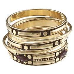 Anah Gold and Eggplant Bangle Bracelet (India)