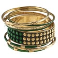Ayala Gold and Earth Green Stones Bangle Bracelet (India)
