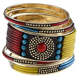 Miki Turquoise and Red Stones Bangle Bracelet (India)