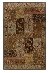 Hand-Tufted Artisan Patchwork Brown Wool Rug (8' x 10')