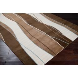 Hand-knotted Contemporary Brown/White Stripe Peralta New Zealand Wool Rug (2' x 3')