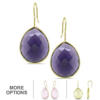 Miadora 22k Gold Overlay Synthetic Gemstone Earrings