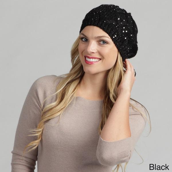 Calvin Klein Women's Sequined Cable Beret Hat FINAL SALE