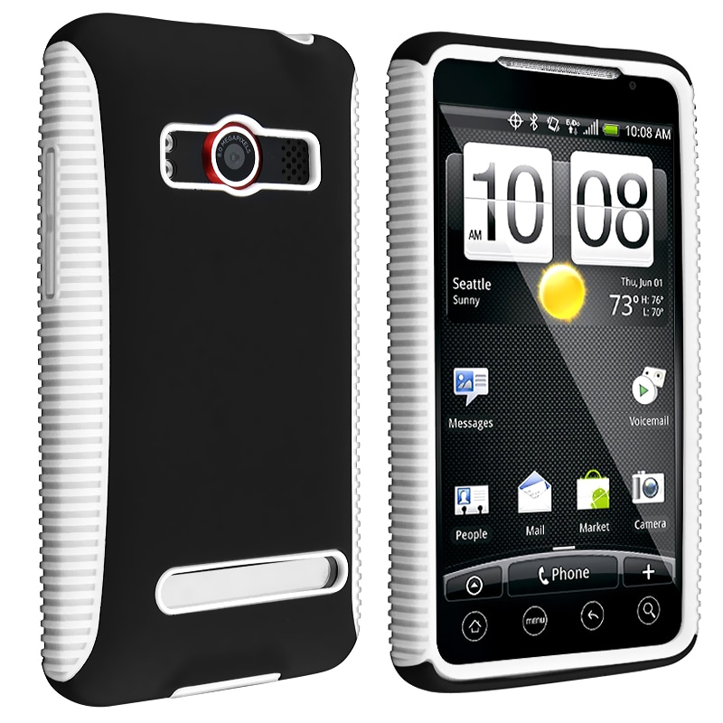 White TPU/ Black Hard Hybrid Case for HTC EVO 4G