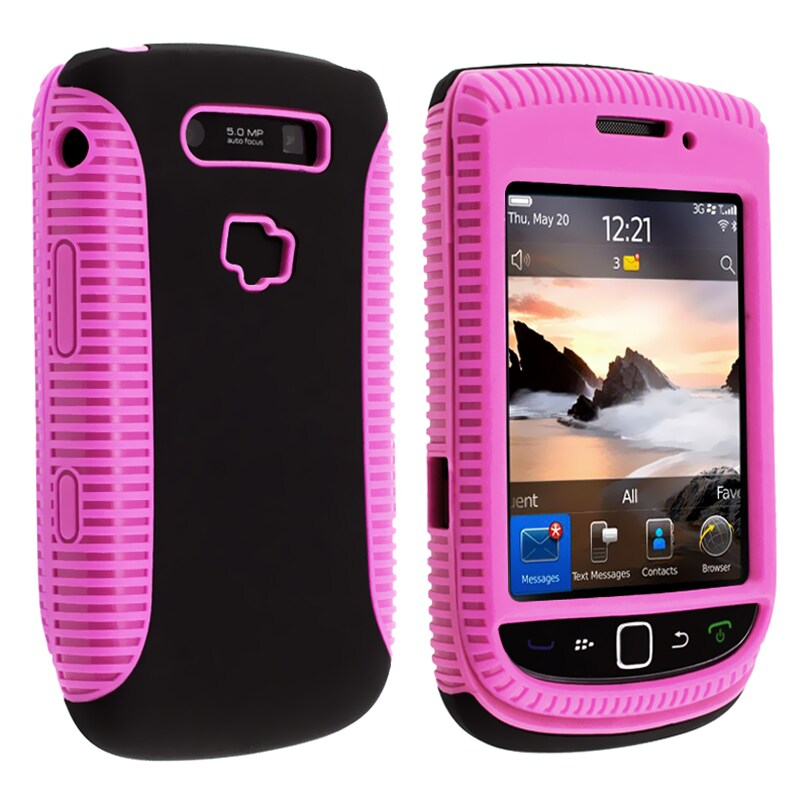 Pink TPU/ Black Hard Hybrid case for BlackBerry Torch 9800/ 9810