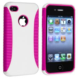 Hot Pink TPU/ White Hard Hybrid Case for Apple iPhone 4/ 4S