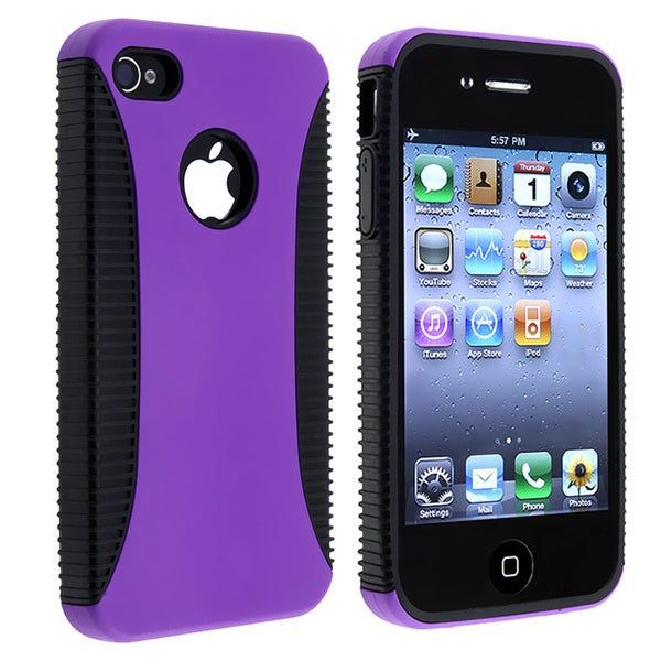 Black TPU/ Purple Hard Hybrid Case for Apple iPhone 4/ 4S