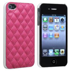 Pink Leather With Silver Side Snap-on Case for Apple iPhone 4/ 4S