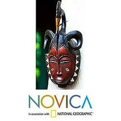 Sese Wood Handcrafted 'Compassion and Bravery' Ivoirian Mask (Ghana)