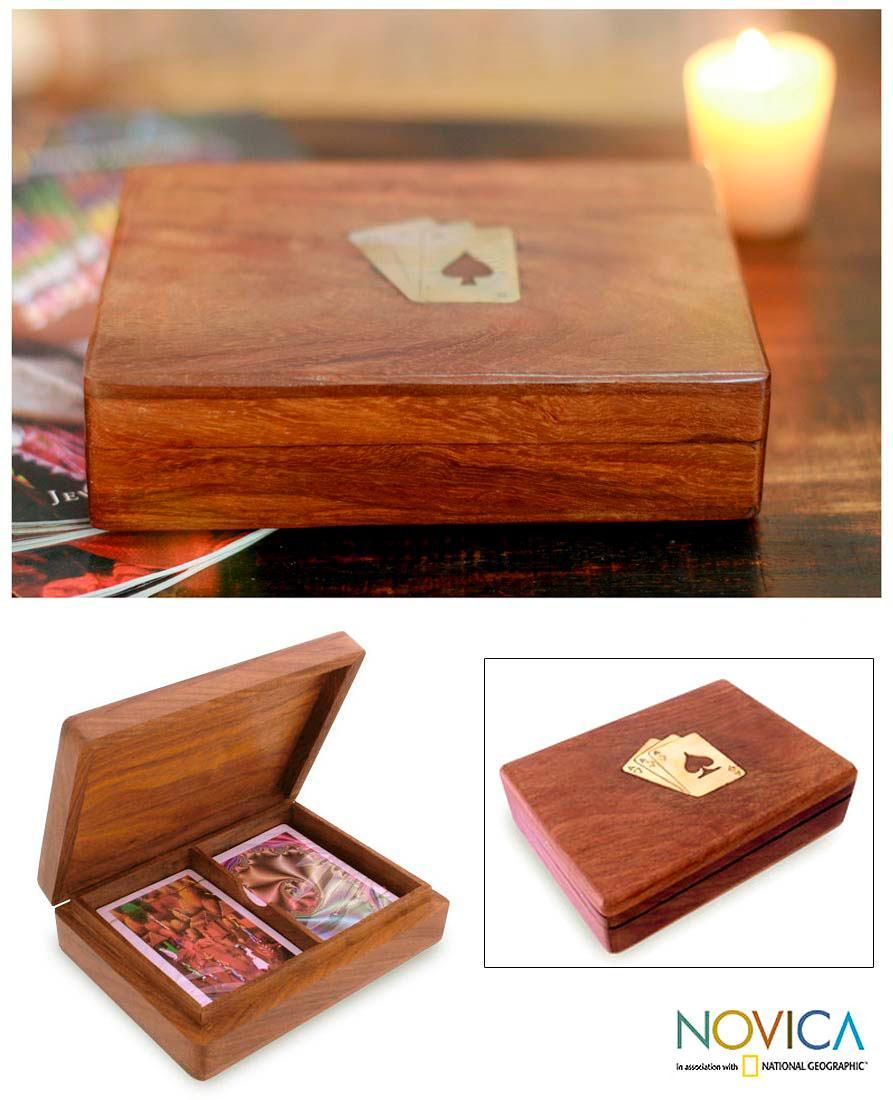 Seesham Wood handcrafted 'Full House' Box and Playing Cards (India)