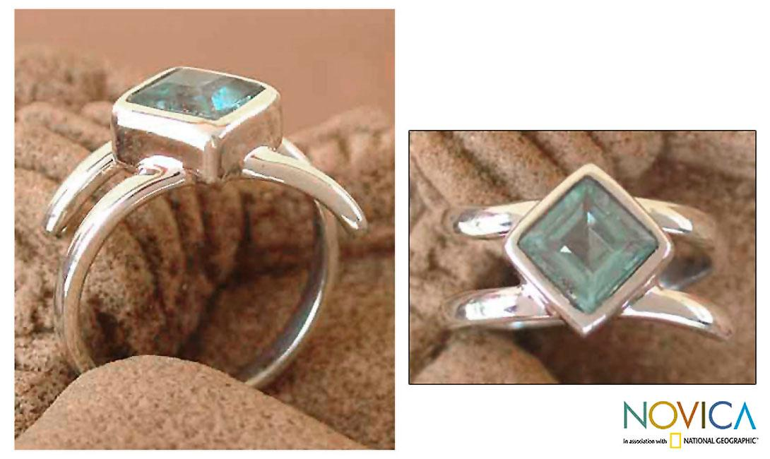Sterling Silver 'Azure Blue' Topaz Solitaire Ring (India)