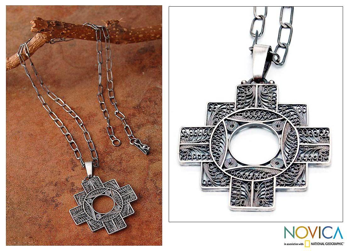 Silver 'Astral Cross' Filigree Necklace (Peru)
