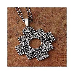 Silver 'Astral Cross' Filigree Necklace (Peru)