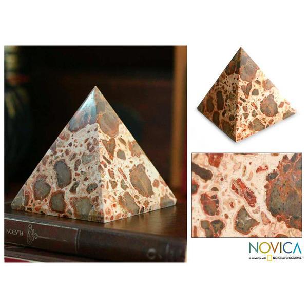 Leopard Jasper 'Fortress' Pyramid Sculpture (Peru)