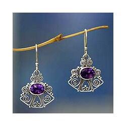 Sterling Silver 'Balinese Bell' Amethyst Dangle Earrings (Indonesia)