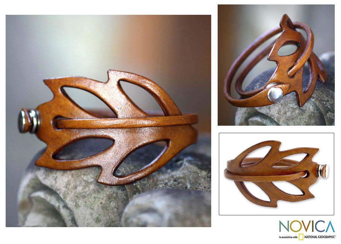 Leather 'Lucky Leaf' Wrap Bracelet (Indonesia)