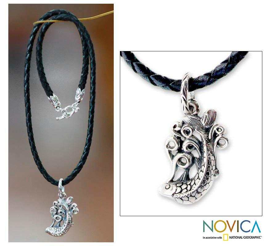 Sterling Silver Men's 'Lucky Dragon Fish' Leather Necklace (Indonesia)