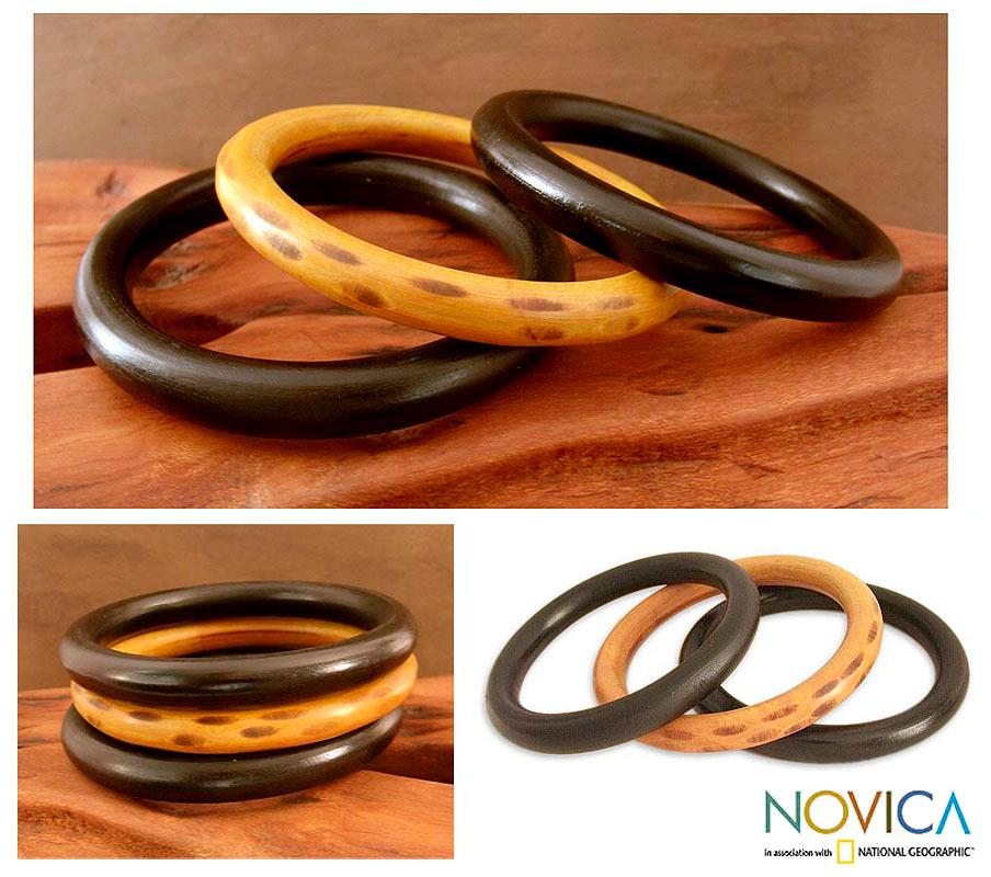 Bangle Bracelets From India Set of 3 Seesham Wood 39 Exotic Delhi 39 Bangle Bracelets India Overstock