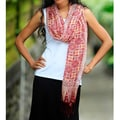 Silk 'Red Lotus Floral' Batik Shawl (Indonesia)