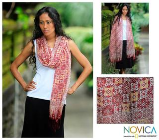 Silk 'Red Lotus Floral' Batik Shawl (Indonesia)