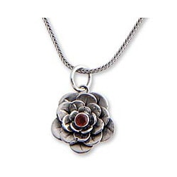 Sterling Silver 'Holy Lotus' Garnet Flower Necklace (Indonesia)