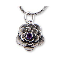 Sterling Silver 'Holy Lotus' Amethyst Flower Necklace (Indonesia)