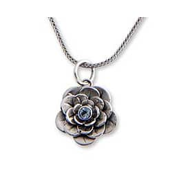 Sterling Silver 'Holy Lotus' Blue Topaz Flower Necklace (Indonesia)