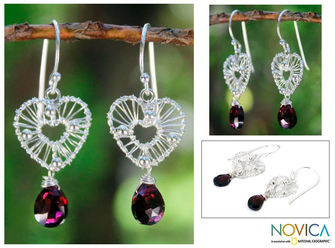 Sterling Silver 'Web of Love' Garnet Earrings (Thailand)