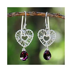 Sterling Silver 'Web of Love' Garnet Earrings (Thailand)