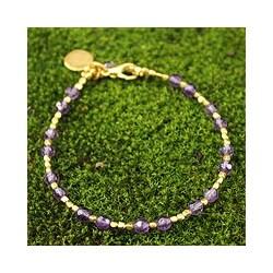 Gold Overlay 'Divine Deva' Amethyst Bracelet (Thailand)