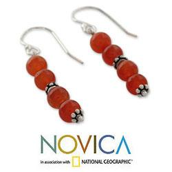 Sterling Silver 'Pillars of Energy' Carnelian Dangle Earrings (India)