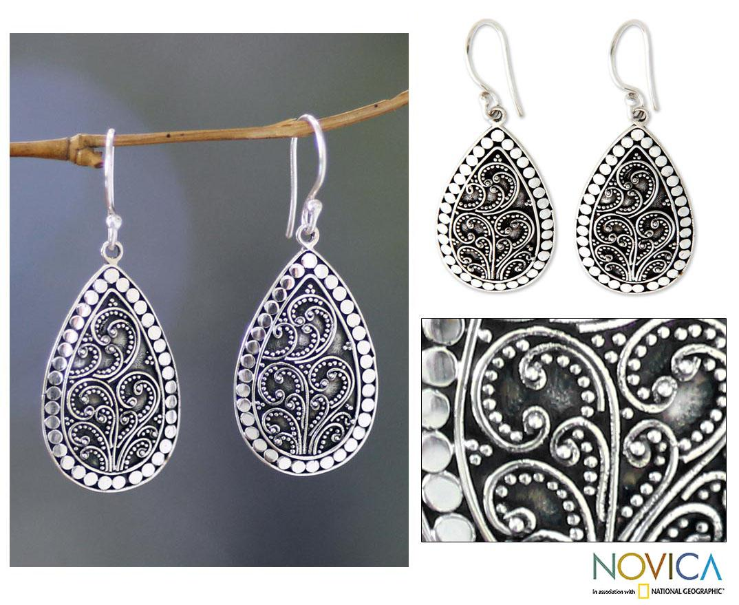 Sterling Silver 'Denpasar Mystique' Flower Earrings (Indonesia)