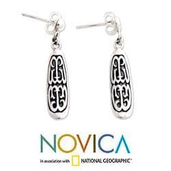 Sterling Silver 'Papua Scute' Dangle Earrings (Indonesia)