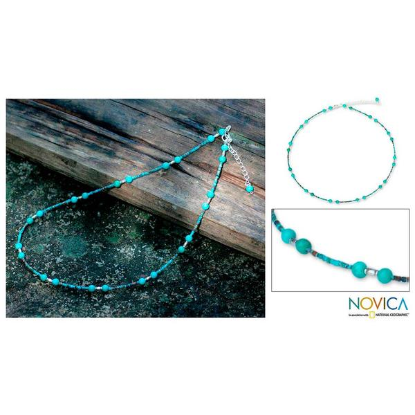 Handmade Sterling Silver 'Blue Islands' Recon Turquoise Necklace(Thailand) 8822288