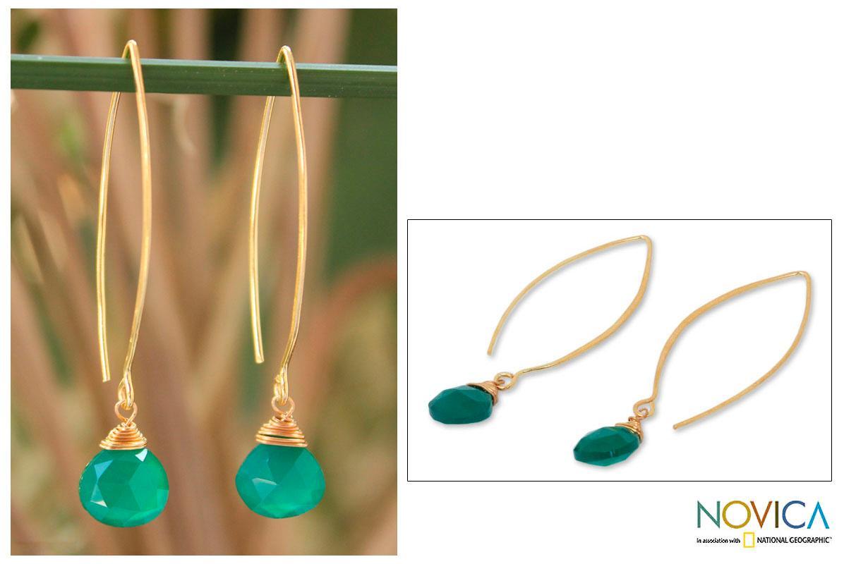 Gold Overlay 'Breath of Love' Chalcedony Earrings (Thailand)