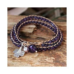 Leather 'Fortune's Wisdom' Amethyst Pearl Bracelet (6.5 mm) (Thailand)