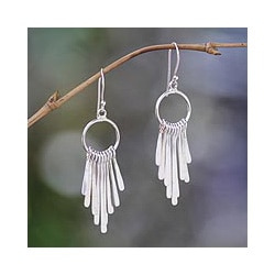 Sterling Silver 'Feather Cascade' Chandelier Earrings (Indonesia)