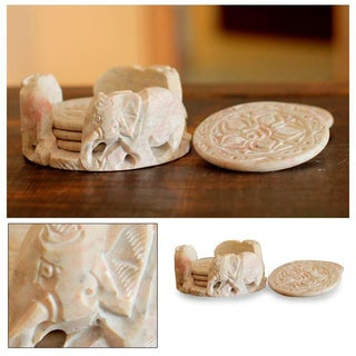 Handmade Carved Roses with Elephant Holder Barware or Entertaining Decorator Accent Beige Marble Drink Coasters (India)