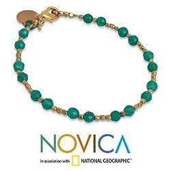 Gold Overlay 'Green Divine Deva' Quartz Bracelet (Thailand)