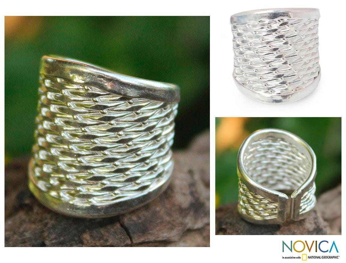 Silver 'Woven Textures' Cocktail Ring (Thailand)