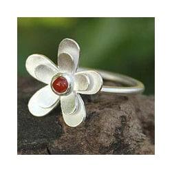 Sterling Silver 'Sunlit Frangipani' Carnelian Flower Ring (Thailand)