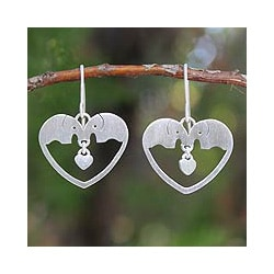Sterling Silver 'Elephants in Love' Earrings (Thailand)