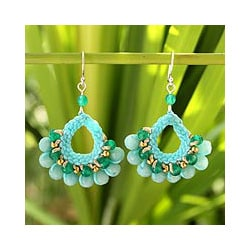 Sterling Silver 'Azure Lanna' Multi-gemstone Earrings (Thailand)
