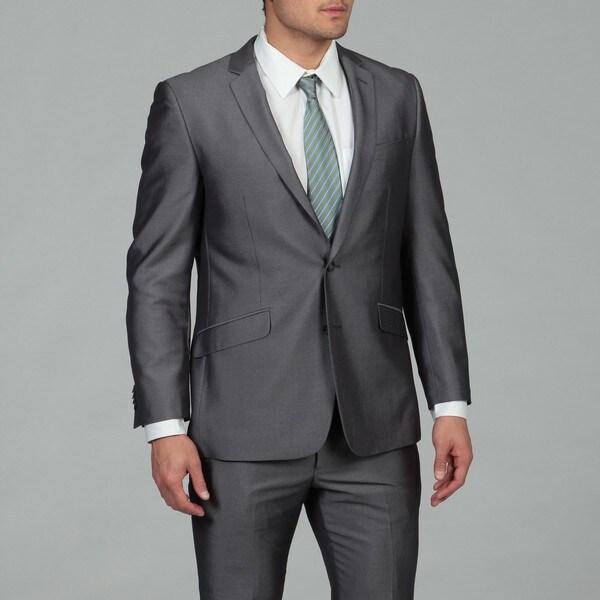 Kenneth Cole Reaction Men's Blue Pin Dot 2-button Slim Fit Suit