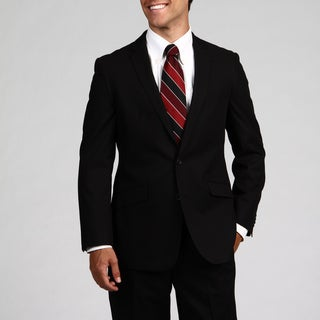 Kenneth Cole Reaction Men's Black Double Vent 2-button Slim Fit Suit