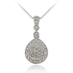 DB Designs Sterling Silver 1/6ct TDW Diamond Drop Necklace (I-J, I2-I3)