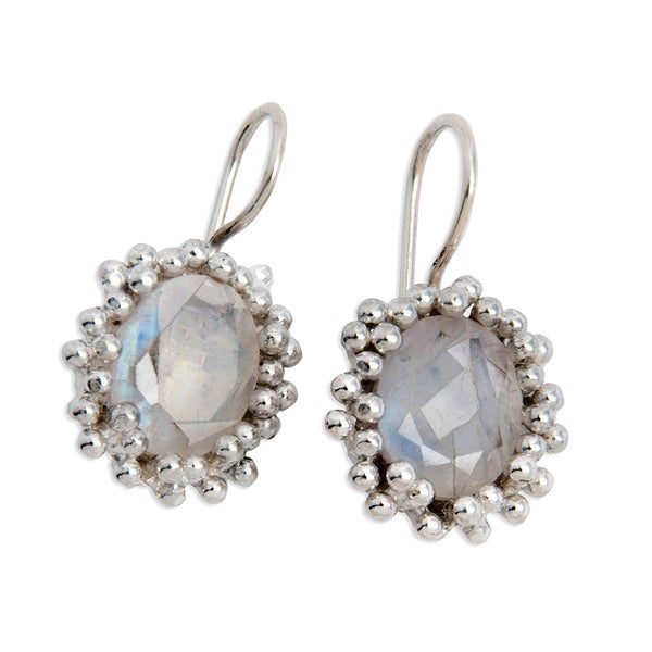 Sterling Silver Rainbow Moonstone Classic Earrings (India)