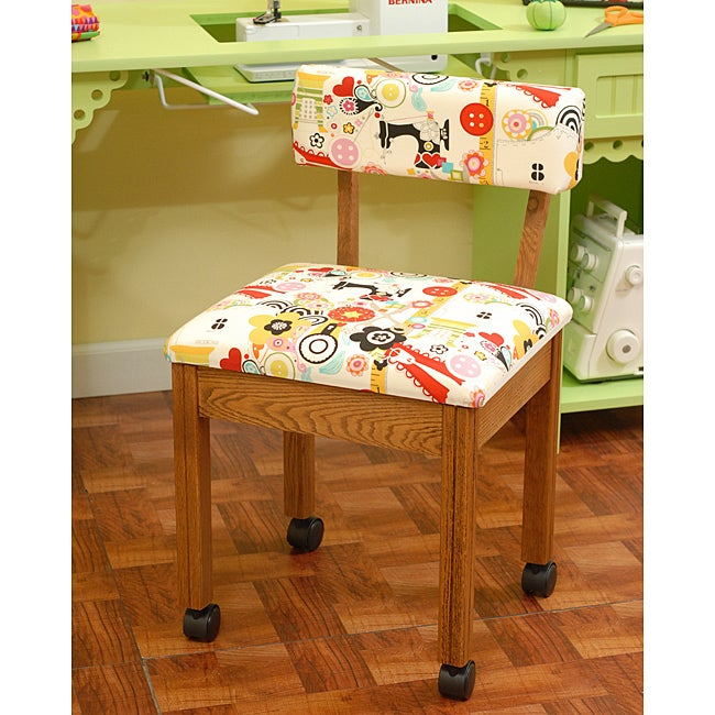 Arrow Oak Finish Sewing Chair with Storage by Exponential