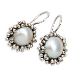 Sterling Silver Freshwater Pearl Earrings (9 mm)(India)